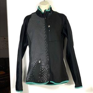 Spyder black/teal dot zip up jacket